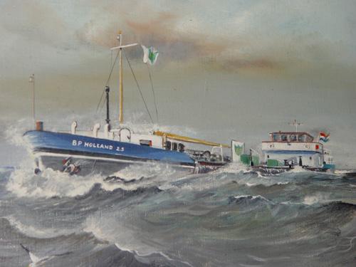 Hans Huijzer schilderde de BP HOLLAND 25 tijdens een flinke bries op het IJsselmeer. Schilderij Hans Huijzer - met dank.