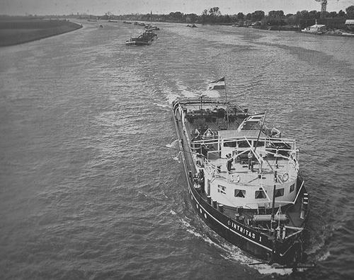 De motorsleepboot INTRITAS, op 6 juni 1953 opvarend op De Noord ter hoogte van de brug van Alblasserdam. In aanhang de TUBANTIA (bestemming Wesseling), de BRITTANNIA (bestemming Wesseling), de GALICIA (bestemming Basel en de BOSNIA (bestemming Basel).