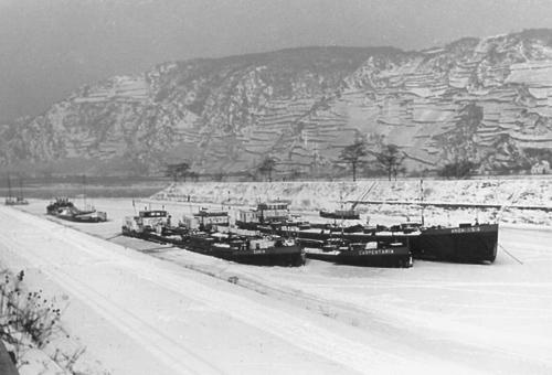 De ene winter is de andere niet. Halverwege de vorige eeuw waren er een aantal bij die zonder meer heftig genoemd mogen worden. Hier liggen de CARIA, CARPENTARIA en ANDALUSIA in de Vluchthaven van Oberwesel ingevroren in de winter van 1956.