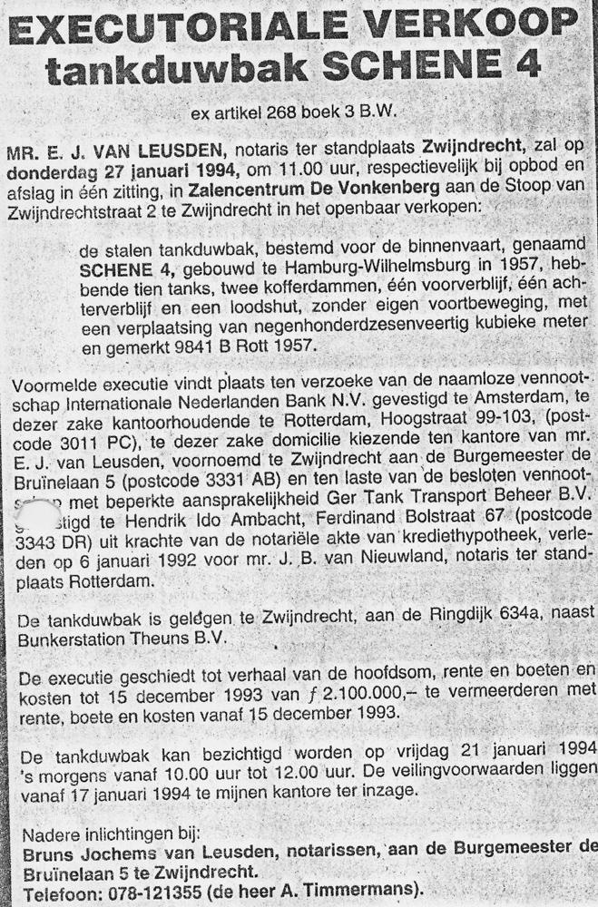 Het bericht in de Schuttevaer van de Executoriale Verkoop van de SCHENE 4, ex ISTRIA